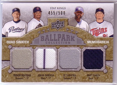 Photo of 2009 Upper Deck Ballpark Collection #288 Matt Garza/Trevor Hoffman/CC Sabathia/Johan Santana/500