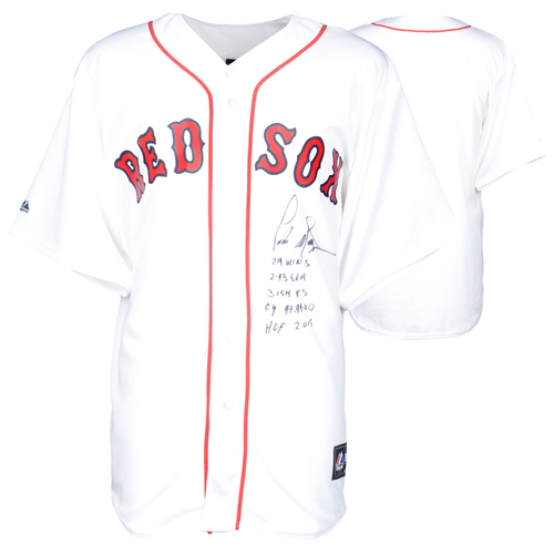 Photo of Pedro Martinez Boston Red Sox Autographed Majestic Replica Jersey with Multiple Inscriptions - #45 in a Limited Edition of 45