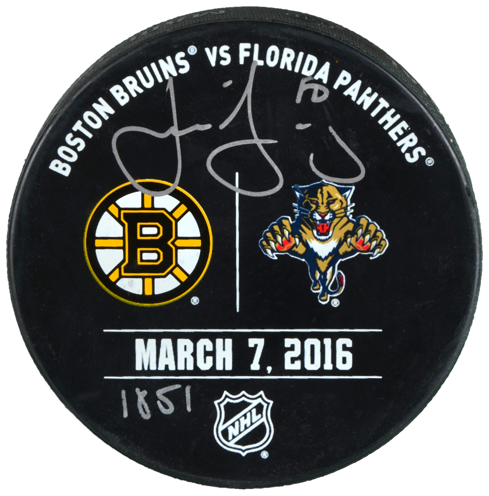 Jaromir Jagr Florida Panthers Autographed March 7, 2016 Practice-Used Warm-Up Puck vs. Boston Bruins with 1851 Inscription - Limited Edition of 20