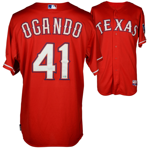 Photo of Alexi Ogando Game-Used Rangers Jersey