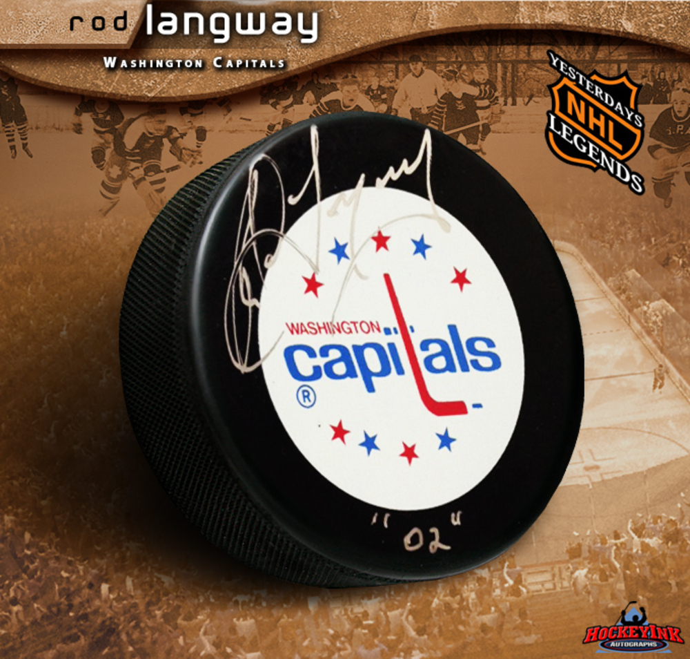 ROD LANGWAY Signed Retro Washington Capitals Puck