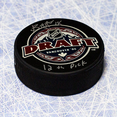Bryan Little 2006 NHL Draft Day Autographed Puck w/ 12th Pick Inscription *Barrie Colts*