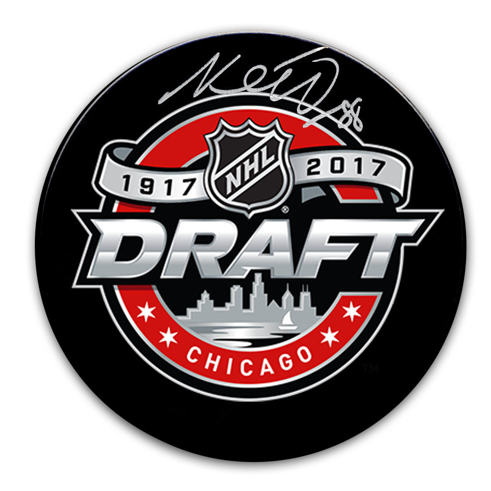 Martin Necas 2017 NHL Draft Day Autographed Puck Carolina Hurricanes 12th OVERALL
