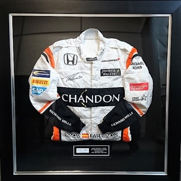 Click to view Signed Fernando Alonso McLaren-Honda Race Overalls.
