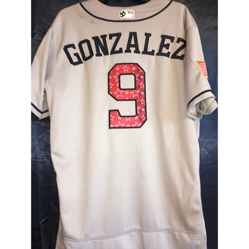 Photo of Game-Used Stars and Stripes Road Jersey: Marwin Gonzalez