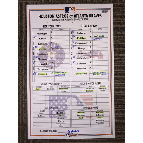 Photo of Astros at Braves, 7/4/17 - Game-Used Lineup Card