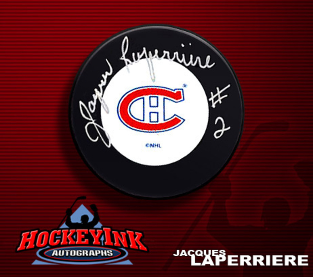 JACQUES LAPERRIERE Signed Montreal Canadiens Puck