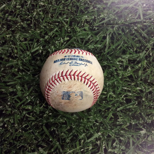 Photo of Game-Used Baseball LAD@MIL 06/02/17 - Kershaw's 2,000th Strikeout Game - Jimmy Nelson to Yasiel Puig: Double