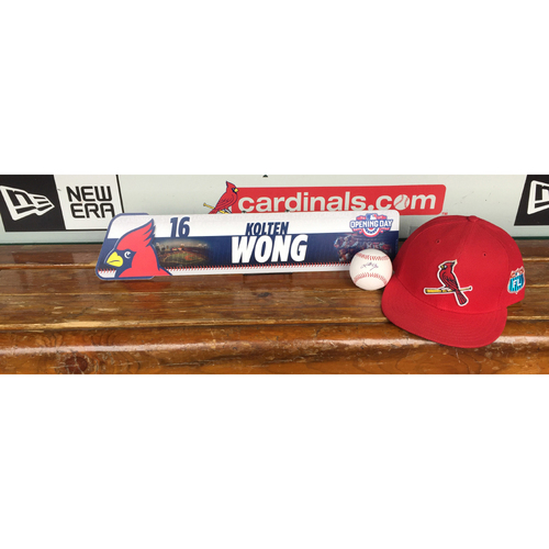 Photo of Cardinals Authentics: Kolten Wong Opening Day Locker Tag, Game worn 2016 Spring Training Cap, and Autograph baseball