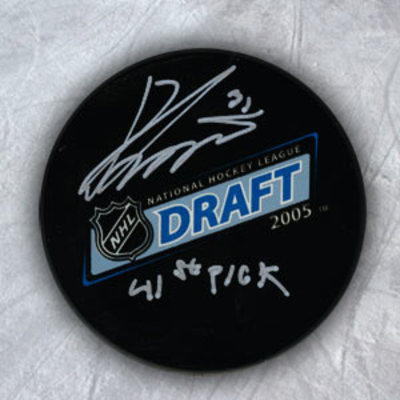 Ondrej Pavelec Autographed 2005 NHL Draft Day Puck w 41st Pick Inscription *Cape Breton Screaming Eagles*