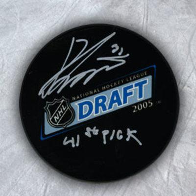 Ondrej Pavelec Autographed 2005 NHL Draft Day Puck w 41st Pick Inscription *Cape Breton Screaming Eagles*