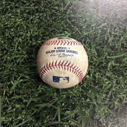 Photo of Game-Used Baseball LAD@MIL 06/03/17 - Matt Garza to Chase Utley: Single