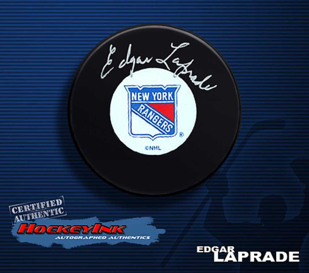 EDGAR LAPRADE Signed New York Rangers Puck