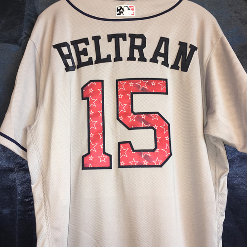 Photo of Game-Used Stars and Stripes Road Jersey: Carlos Beltran