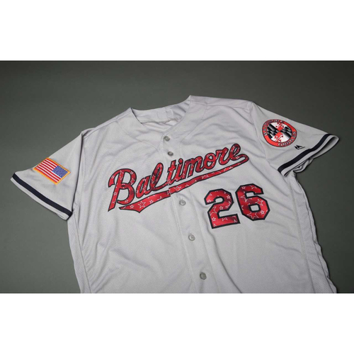 Photo of Adam Jones #10 - 2017 4th of July Road Jersey: Game-Used on 7/3/2017