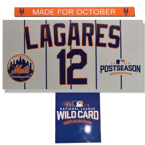 Photo of Juan Lagares #12 - Game Used Wildcard Nameplate Set - Mets vs. Giants - 10/5/16