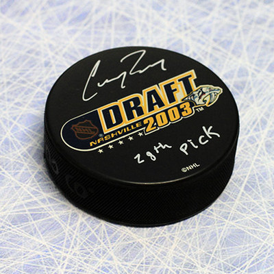 Corey Perry 2003 NHL Draft Day Autographed Puck with 28th Pick *London Knights*