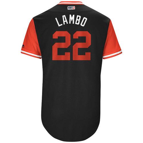 """Photo of Jake """"Lambo"""" Lamb Arizona Diamondbacks Game-Used Players Weekend Jersey"""