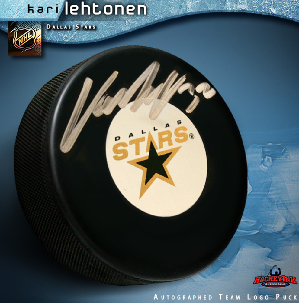 KARI LEHTONEN Signed Dallas Stars Puck