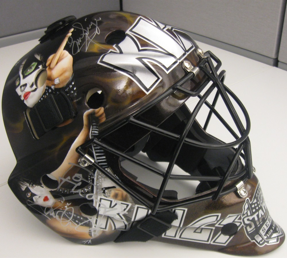 Special Edition Custom painted KISS goalie mask by David Arrigo (1 of 4) - Autographed by the band