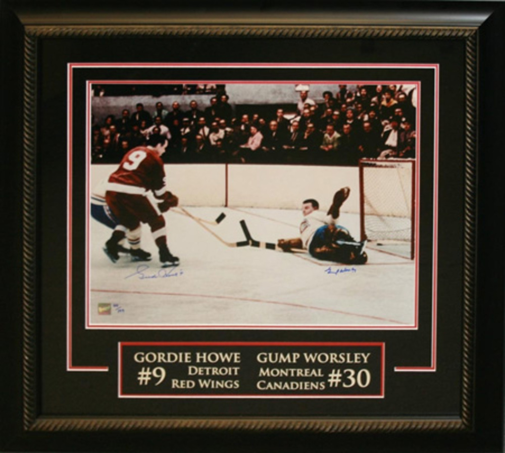 Gordie Howe and Gump Worsley dual Signed 16x20 Etched Mat