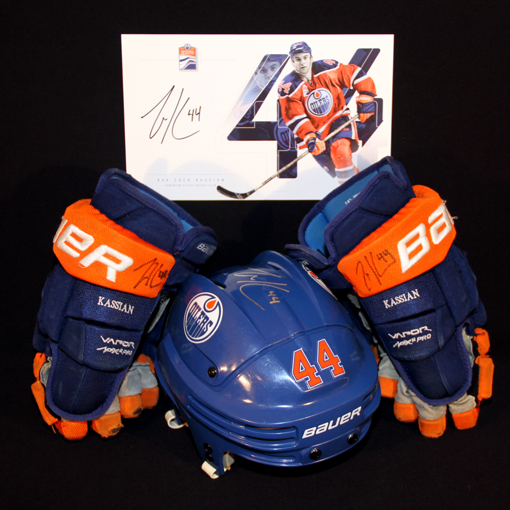 Zack Kassian #44 - Autographed 2015-16 (2nd Half) Edmonton Oilers Game Worn Royal Blue Bauer Helmet & 2016-17 Bauer Hockey Gloves - Includes Bonus Autographed Player Card!