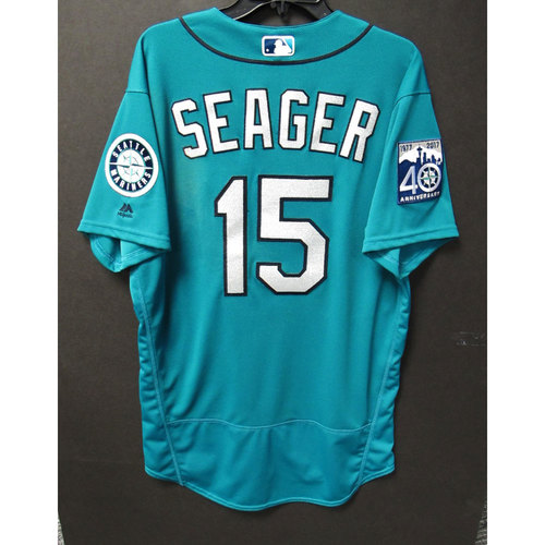 Photo of Kyle Seager Green 40th Anniversary Game-Used Jersey  6-23-2017