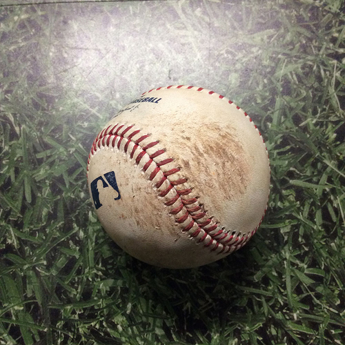 Photo of Game-Used Baseball 06/30/17 MIA@MIL - Edinson Volquez to Eric Sogard: Strikeout