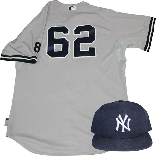 Photo of Alan Cockrell Set - NY Yankees 2015 Game-Used #62 Road Jersey w/ Yogi Berra #8 Commemorative Patch & Hat Set (10/4/2015)