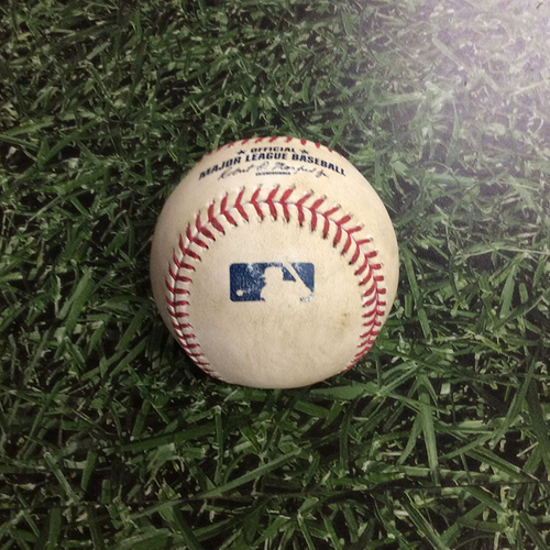 Photo of Game-Used Baseball LAD@MIL 06/04/17 - Kenta Maeda to Orlando Arcia: Strikeout