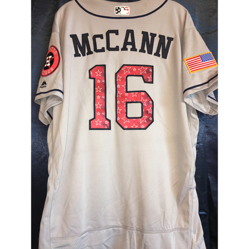 Photo of Game-Used Stars and Stripes Road Jersey: Brian McCann