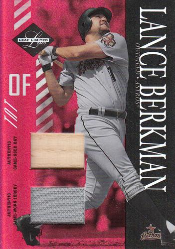 Photo of 2003 Leaf Limited TNT #147 L.Berkman Socks Bat-Jsy
