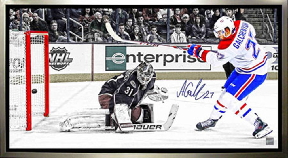 Alex Galchenyuk - Signed & Framed 14x28 Canvas - Montreal Canadiens Scoring vs Columbus