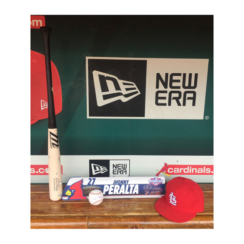 Photo of Cardinals Authentics: Jhonny Peralta Opening Day Locker Tag, Game used broken bat, Red home cap and Autograph baseball