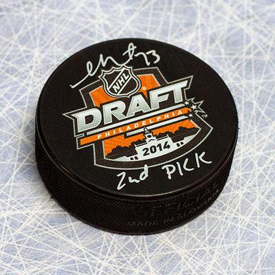 Sam Reinhart Autographed 2014 NHL Draft Day Puck w 2nd Pick Inscription *Kootenay Ice*
