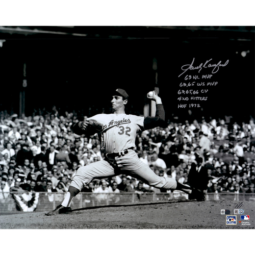 Sandy Koufax Los Angeles Dodgers Autographed Black and White 16
