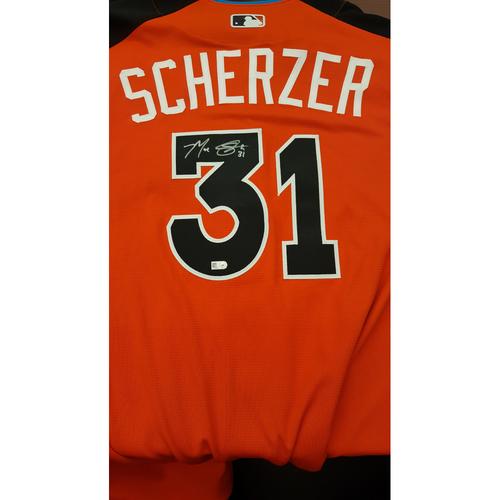 Photo of Max Scherzer 2017 Major League Baseball Workout Day/Home Run Derby Autographed Jersey