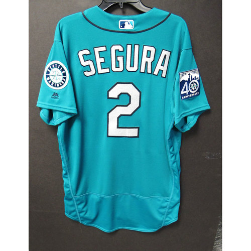 Photo of Jean Segura Green 40th Anniversary Game-Used Jersey 6-23-2017
