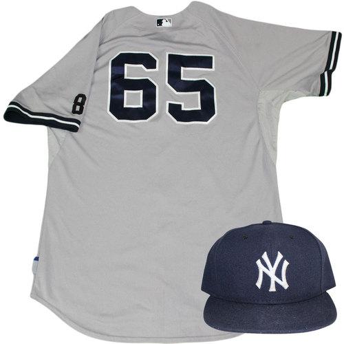 Photo of Caleb Cotham Set - NY Yankees 2015 Game-Used #65 Road Jersey w/ Yogi Berra #8 Commemorative Patch & Hat Set (10/4/2015)