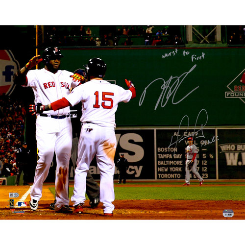 Photo of Dustin Pedroia, David Ortiz Boston Red Sox Autographed 16'' x 20'' 2013 W.S Hug Photograph - Limited Edition #1 of 34