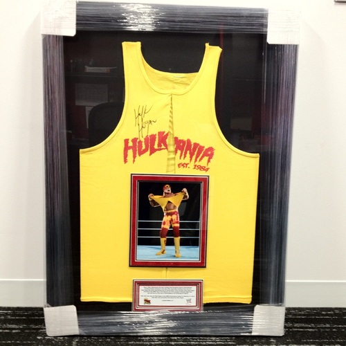Hulk Hogan WORN & SIGNED Framed Yellow Hulkamania Tank Top