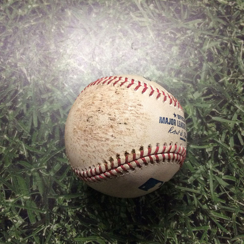 Photo of Game-Used Baseball 05/12/17 NYM@MIL - Matt Harvey to Matt Garza: Strikeout