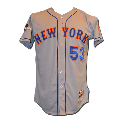 Photo of Dave Racaniello #53 - MLB Authenticated Team Issued 2015 Postseason Jersey - 2015 Postseason Patch on Right Sleeve