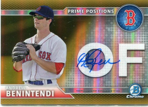 Photo of 2016 Bowman Chrome Prime Position Autographs Gold Refractors #PPAAB Andrew Benintendi 31/50
