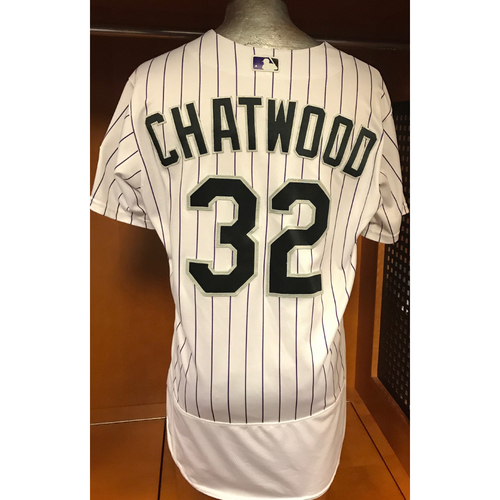 Photo of Colorado Rockies Tyler Chatwood Game Used Jersey to Aid Hurricane Harvey Relief Efforts