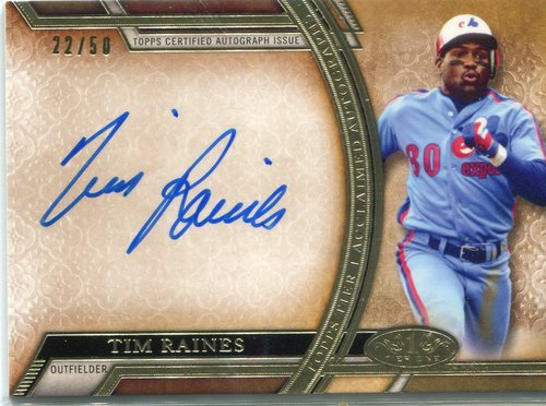 Photo of 2015 Topps Tier One Acclaimed Autographs Tim Raines 22/50 -- Hall of Famer