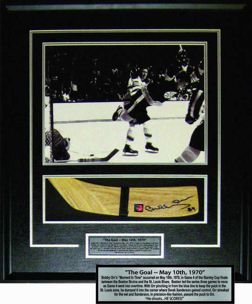Bobby Orr - Signed & Framed Stick Blade - Featuring The Goal 11x14 Etched Mat Photo