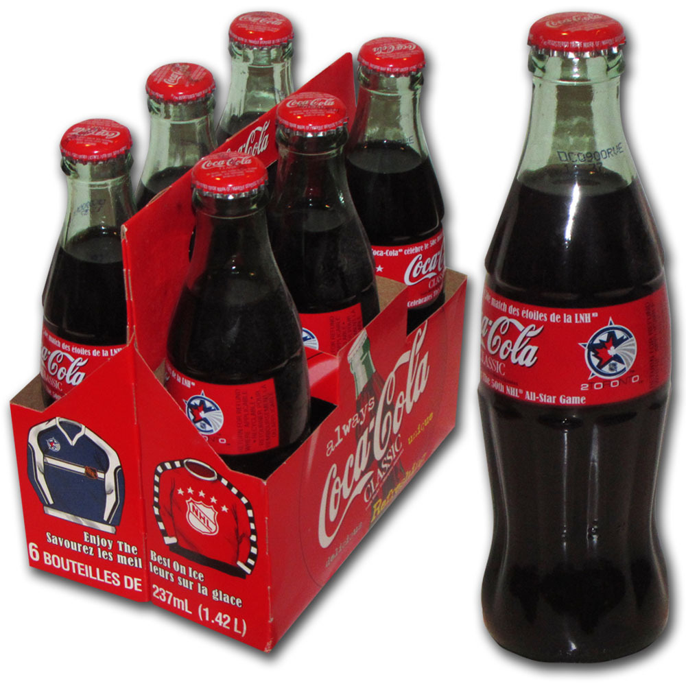 2000 NHL All-Star Game Commemorative 6-Pack of Coke Bottles - February 6, 2000 (Toronto Maple Leafs)
