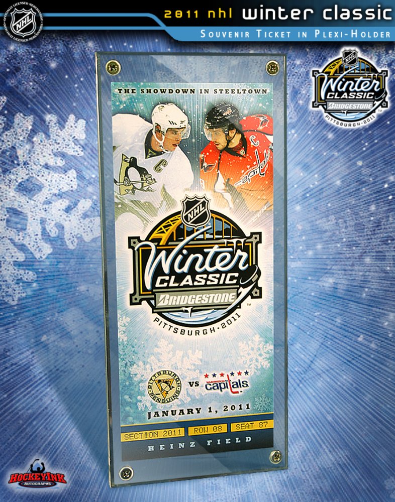 2011 NHL WINTER CLASSIC - Commemorative Ticket & Display Case - Washington Capitals - Pittsburgh Penguins