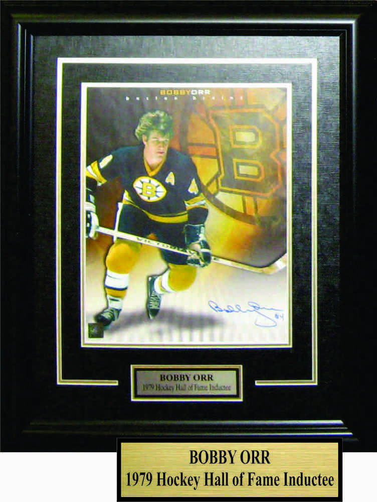 Bobby Orr - Signed & Framed 11x14 Etched Mat - Black With Background Bruins Logo